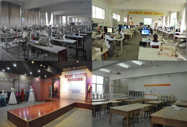 服装秀场及展销厅,多媒体辅助教学课堂,服装工艺制作车间,立体裁剪及打版室